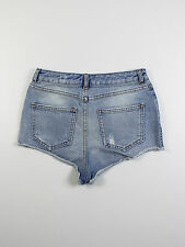TopShop womens Size 26w Moto blue denim hot pants shorts