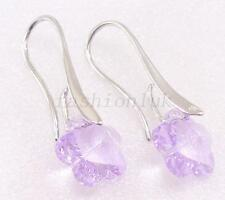 Women Swarovski Element Lilac Crystal White Gold Plated Drop Xmas hooks Earrings