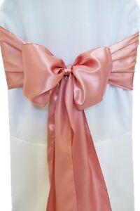 "100 Dusty Rose Satin Chair Cover Sash Bows 6"" x 108"" Banquet Wedding Made USA"