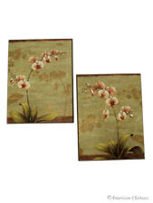 Set of 2 Japanese Inspired Orchid Flowers Wall Art Decor Plaques Signs