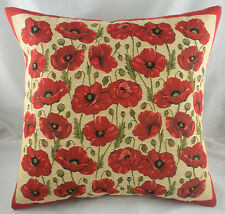 "18"" Red Poppies Border Flowers Belgian Tapestry Cushion Evans Lichfield Poppy"
