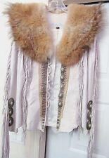 North Beach Leather Burray Olson Coyote Trim Jacket Coat Fringe Exotic White VTG