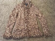 Vintage Nine West Women's Brown/White Acrylic/Wool Blend Cardigan Sweater, Sz M