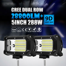 "Pair 5""Inch 288W CREE Led Work Light Bar FLOOD Offroad Fit 4WD Jeep Truck 4"" 18W"