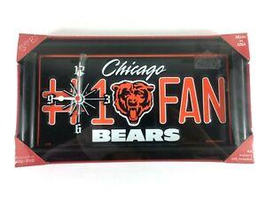 Chicago Bears #1 Fan Framed License Plate Clock New Made in USA Gift