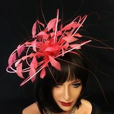 Coral Feather Fascinator For Races, Proms , Weddings
