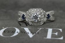 VERA WANG LOVE COLLECTION TWIST FRAME DIAMOND & SAPPHIRE ENGAGEMENT RING 1.10CTW