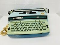 Vtg Smith Corona Coronet Super 12 electric typewriter W/case light blue Antique