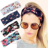 New Women Flower Turban Twist Knot Head Wrap Headband Elastic Hair Band