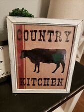 COUNTRY  RUSTIC WHITE RED Farmhouse  COW Kitchen FIXER UPPER Picture Sign