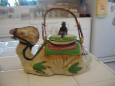 Nice Vintage Ceramic Camel Teapot With Native Boy And Bamboo Handle Japan
