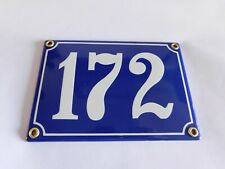 Antique French Blue  Genuine Enamel Porcelain House Door Number Sign / Plate 172