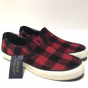 Polo Ralph Lauren Thompson Plaid Slip On Shoes Men's Size 10.5 Red/Black NWT
