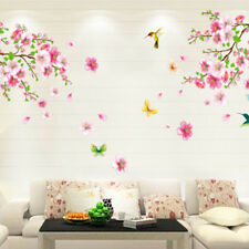 Beautiful Flower Peach blossom Birds Art PVC Wall Stickers Removable Home BERX