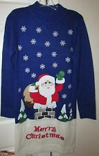 Skedouche Ladies Ugly Christmas Blue Rooftop Santa Sweater Dress Large $70 NWT