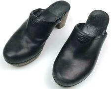 UGG Womens 7 Abbie Studded Leather Sheepskin Clogs Black Slip On Shoes