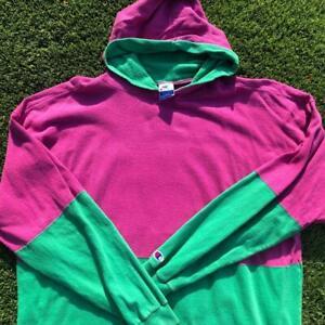 VTG 90s Champion 2-Tone Purple/Teal Hoodie Sweat Shirt 2XL