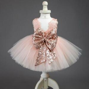 Baby GirlsFancy Wedding Flower Girl Dress Princess Party Pageant Formal Gown Bow