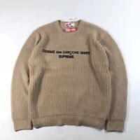 Black Woven Supreme X CDG 18FW Sweater In Great Condition Size L Crew Neck Tan