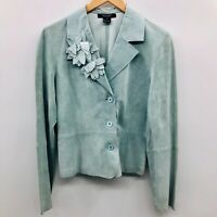 Karen Kane Lifestyle Womens Medium 100% Leather Blazer Suit Jacket Green Soft