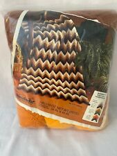 "Vintage WonderArt Crochet Afghan Kit 34"" x 45"" Ripple Brown Orange 3 Ply Yarn"