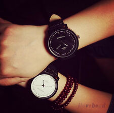 Couple Womens Mens Fashion Watch Faux Leather Analog Quartz Wristwatch Gift HOT