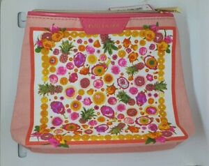 Estee Lauder Make Up/cosmetic/travel bag floral white/pink 17x5x17cm high