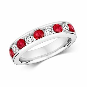 Hallmarked 9ct White Gold 0.49ct Diamond Eternity Ruby Ring Sizes J-Q New