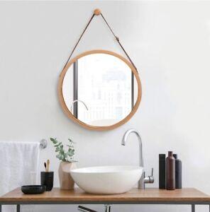 Wandspiegel Rund Flur Spiegel Badspiegel mit Verstellbarer Ledergürtel 45CM