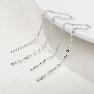 Damen Ohrringe Durchzieher lange Kette echt Sterling Silber 925