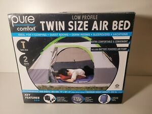 Pure Comfort Low Profile Twin Size Air Mattress New Open Box With Pump