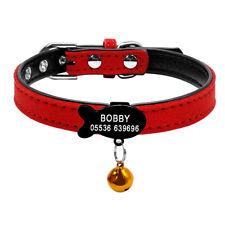 Personalised Cat Collar & Tag Padded Pet Puppy Kitten Fish/Bone Collar Tag XXS-S
