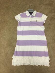 NWOT Ralph Lauren Girls Ivory Purple  Ruffle Hem Polo Dress Sz. XL 16