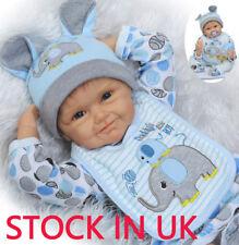 "Soft Silicone Vinyl Baby 22"" Reborn Baby Boy Doll Lifelike Newborn Toy Gift Kid"