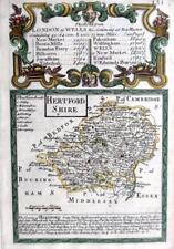 HERTFORDSHIRE HERTFORD    BY EMANUEL BOWEN GENUINE ANTIQUE ENGRAVED MAP c1720