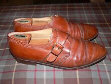 Johnston & Murphy Brown Medallion Cap Toe Monk Strap Dress Shoes, Italy, Size 10