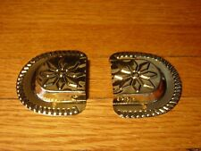 Chest Trunk Brass Plated Star Leather Handle End Set Vintage Old Stock Hardware
