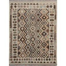 "5'x6'6"" Afghan Reversible Kilim Vegetable Dyes Pure Wool Hand Woven Rug R57492"