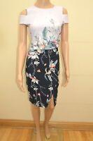 New Lipsy Woodland Floral Peep Shoulder Dress Sz UK 8