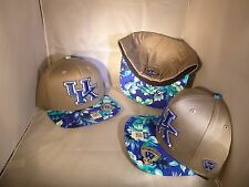 KENTUCKY WILDCATS NCAA GREY COASTAL BLUE VISOR FLAT BILL FLEX FITTED HAT CAP