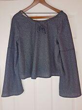 Jennyfer Ladies Black / White Spotted Cropped Top Blouse Size UK 8 / EU 34 - 36