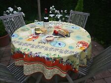 Tablecloth Provence 160 CM Round Green Olivenmotive from France Easy-Care