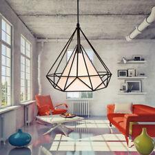 Modern Style Metal Geometric Cage Ceiling Pendant Light Lightshade Lamp Shades 38cm Black Frame & White Shade