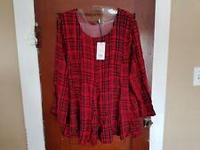 NWT PAPAYA Weekend Women's 14 Red Black 3/4 Sleeve 100% Viscose Shirt