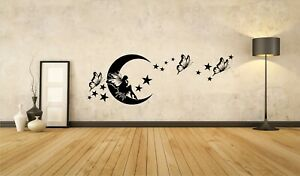 Kinderzimmer Fee Mond Schmetterling Sterne Farbe Mädchen Baby Wandtattoo A065