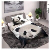 Panda parure de lit housse de couette 160x200 + Taie 70x80 100% Coton Panda Ours