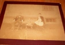 Vintage Antique Cabinet Card Photograph Mom Dad and Babies Children on Chairs