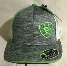 98fb85713c7 Ariat Western Rodeo Mesh Snap Back hat Grey Neon Green 1504906