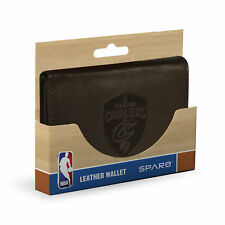 Cleveland Cavaliers NBA parche con logotipo en relieve en cuero marrón oscuro cartera Triple