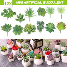 12Pcs Succulent Flocking Artificial Plants Landscape Garden Home Decor PVC Green